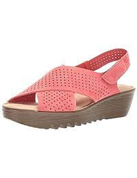 Skechers Womens Petite Parallel - Plot - Square Perf Peep Toe Slingback Wedge Sandal