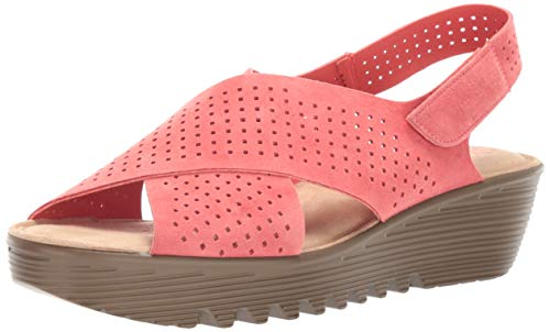 Skechers Women's Petite Parallel-PLOT-Square Perf Peep Toe Slingback Wedge Sandal, Coral, 10 W US
