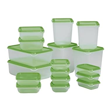 Pruta Food Container 601.496.73, Set of 17, Green