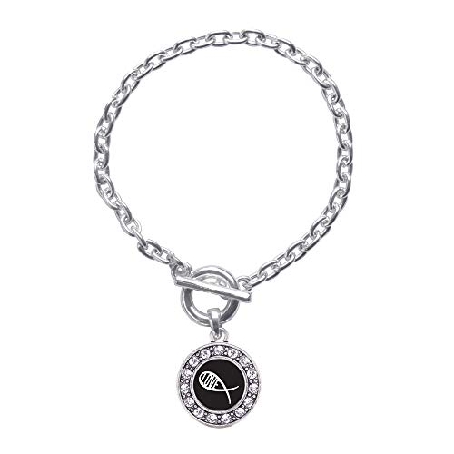 Inspired Silver - Christian Fish Love Toggle Charm Bracelet for Women - Silver Circle Charm Toggle Bracelet with Cubic Zirconia Jewelry