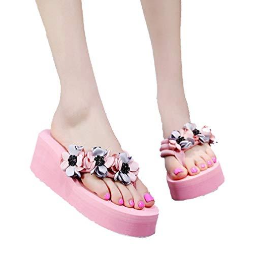 Women's Platform Beach Flip Flops Slip On Open Toe Floral Mid Heels Thick EVA Wedge Thong Sandal Pink