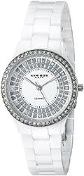 Akribos XXIV Women's AK509WT Crystal Embellished Ceramic Watch with Link Bracelet