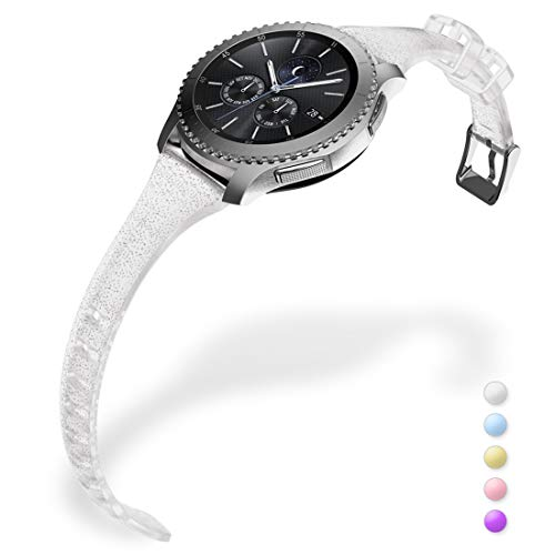 Gear S3 Bands, Women Silicone Watch Bands Slim Girls Rubber Watch Strap Quick Release Narrow Replacement Wristband Compatible Samsung Gear s3 Frontier/s3 Classic Smart Watch (Silver)