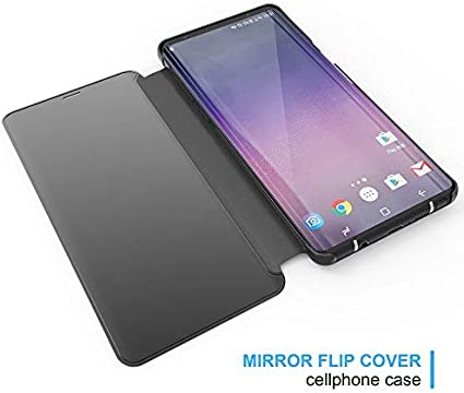 Shinyzone Black Mirror Case for Samsung Galaxy S10 5G,Ultra Thin Rigid PC Kickstand Flip Case Hardcover with Plating Mirror Translucent Wallet Cover for Samsung Galaxy S10 5G