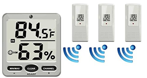 Ambient Weather WS-07-X3 Big Digit 8-Channel Wireless Thermo-Hygrometer with Three Remote Sensors