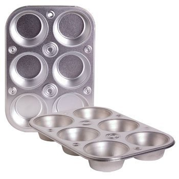 6-cup Metal Muffin / Cupcake Pan Toaster Oven Size - 3 Pack