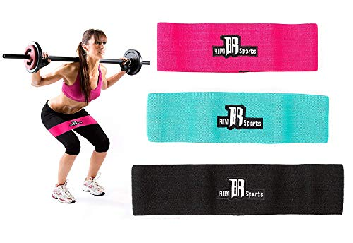 RIMSports Resistance Bands Best Exercise Bands for Booty - Ideal for Resistance Bands for Legs and Butt - Premium Workout Bands for Hips & Glutes Exercises (Pink, Turquoise, Black - Set of 3)