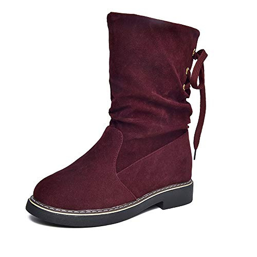 Newest Women's Flock Boots,Sunyastor Winter Mid-Calf Snow Boots Lace Up Footwear Casual Classics Warm Snow Ankle Shoes ()