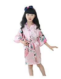 luxurysmart Peacock Silk Kimono Robe Bridesmaid Robes/Wedding Robe/Nightgown for Girls