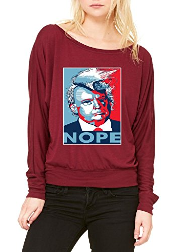 Xekia Donald Trump Nope Republican Birthday Gifts Republican Fashion People Couples Gifts Best Friend Gifts Women's Flowy Long Sleeve Off Shoulder Tee Clothes X-Small Maroon