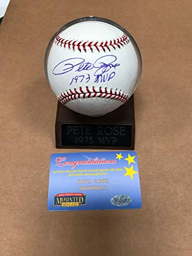 - Pete Rose Autographed Signed Baseball 1973 Mvp Inscription Mounted Memories - Certified Signature