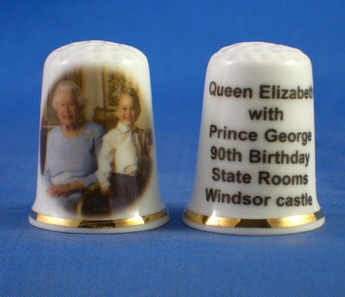 Birchcroft Porcelain China Collectable Thimble -- Queen Elizabeth & Prince George 90th Birthday Birchcroft China