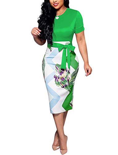 Women' Short Sleeve Bodycon Dress -Cute Bowknot Floral Pencil Dress X-Large Green