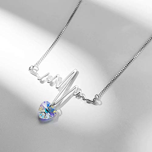 PMLV ECG Curve Crystal Necklace 925 Sterling Silver Short Clavicle Chain Female Swarovski Elements Pendant Valentine's Day Necklace Lovers Gift Jewelry