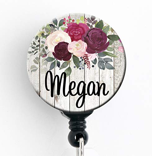 (Retractable Badge Reel - Burgundy Rose Floral - Personalized Name - Badge Holder/Nurse Gift/Teacher Gift/Stocking)