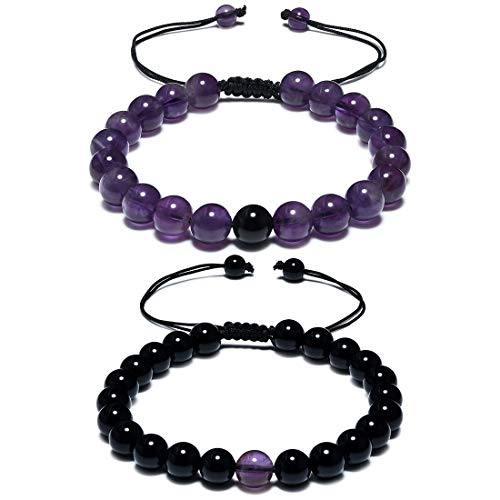 CAT EYE JEWELS Matching Bracelets Long Distance Couple Bracelets His and Her Friendship 8mm Black Agate and Amethyst Healing Beads ()