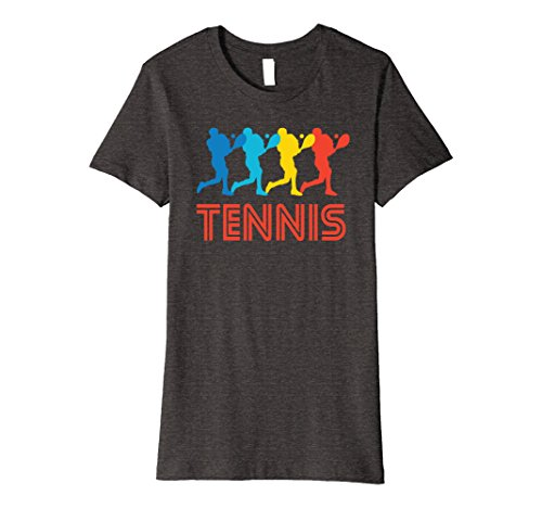Art Graphic Tee - Womens Tennis Player Retro Pop Art Tennis Graphic T-Shirt XL Dark Heather