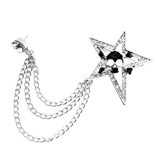 (Mens Crystal Rhinestone Brooch Lapel Pin Star Skull Coat Suit Tassel Chain | Color - Silver)