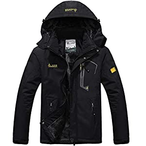 YIRUIYA Men's Outdoor Fleece Jacket Winter Waterproof Warm Windproof Ski Hiking Jack