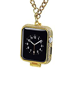 Callancity 38mm bling rhinestone diamonds encrusted 24kt gold jewelry watch necklace cover for Apple watch series 1,2,3