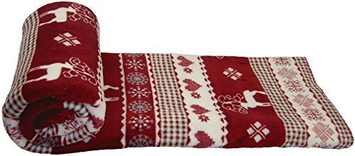 christmas reindeer snowflakes red white supersoft large fleece throw blanket 150 x 190 59 x 75 amazoncouk kitchen home
