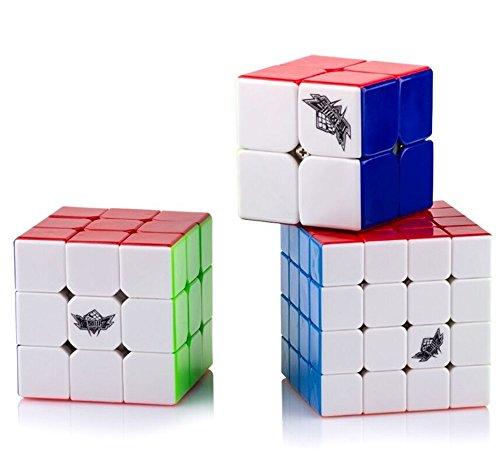 D-FantiX Cyclone Boys Speed Cube 2x2 3x3 4x4 Stickerless Smooth Magic Cube Puzzles Toy Bundle Set of 3