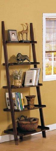Walnut 5 Tier Leaning Ladder Book Shelf