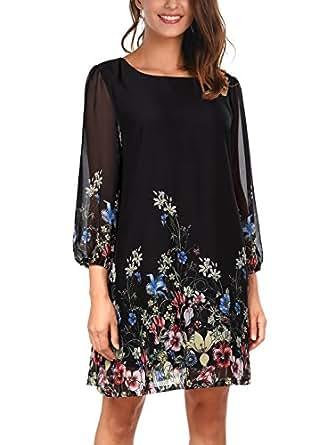DJT-Vestido para Mujer de Chifon con Estampado Floral Negro Small