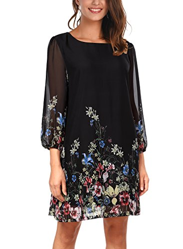 DJT Women's Floral Pattern 3/4 Sleeve Loose Fit Chiffon Tunic Dress Large Black -