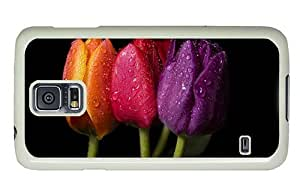 Hipster Samsung Galaxy S5 Case awesome covers Orange Red Purple Tulips PC White for Samsung S5