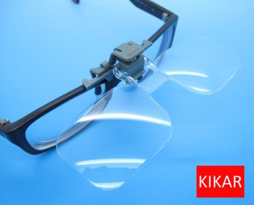 KIKAR Clip 'n' Flip (2x Power / +4.00 Diopters) Clip on Flip Up Plastic Power Magnifying Glass - Fit All Specs RrD4h9