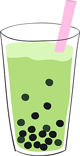 Simple Yummy Boba Bubble Tea Drink Cartoon Vinyl Sticker (2