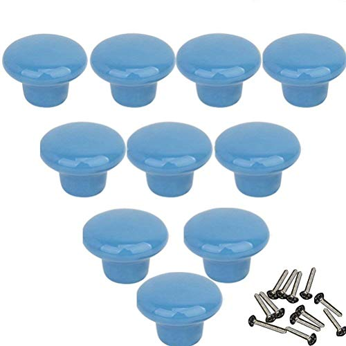 Mallofusa 32mm Cabinet Ceramic Round Pull Knobs for Drawer Dresser Kitchen Wardrobe Handles 10 PCS Blue