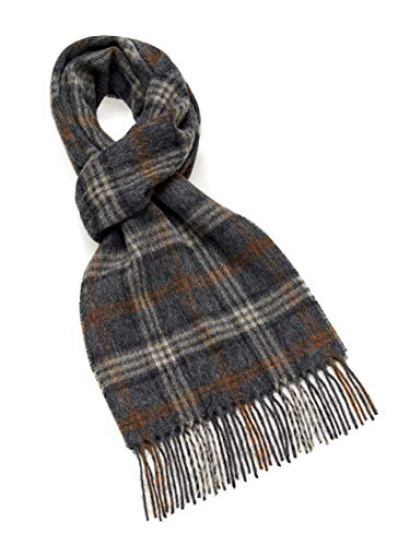 Womens Charcoal Grey Lambswool - Moon Wool Plaid Scarf, Merino Lambswool, Trueman Brick, Made in UK