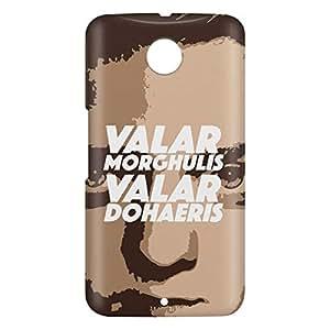 Loud Universe Motorola Nexus 6 3D Wrap Around Arya Valar Morghulis Print Cover - Brown/White