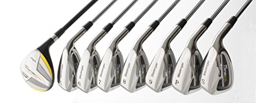 Slazenger Men's Tour Select Stainless Steel Irons Set w/Hybrid; +5-9 Irons +Pitching Wedge +Sand Wedge: Senior, Regular OR Stiff Flex; Cadet, Regular or Tall Length; Right Hand; Built in the USA! (Iron Set Back)