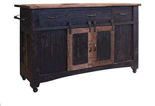 Burleson Home Furnishings Anton Farmhouse Solid Wood Distressed Black Sliding Barn Door Kitchen Island with Storage and Rolling Casters