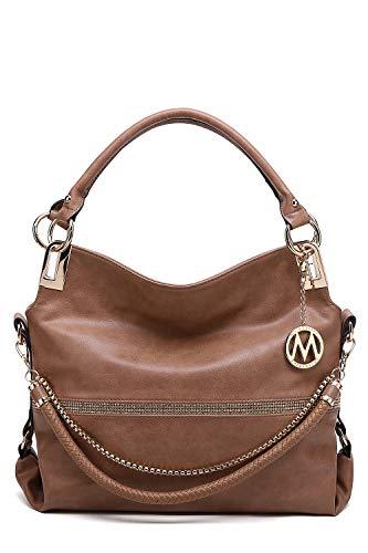 MKF Hobo Crossbody Bag for Women - Satchel Shoulder Handbag - Vegan Leather Top Handle Purse Removable Strap Taupe