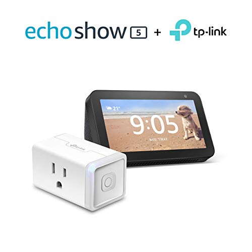 Echo Show 5 (Charcoal) Bundle with TP-Link simple set up smart plug