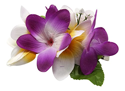 Hawaii Luau Party Artificial Fabric Plumeria Hair Clip Purple White