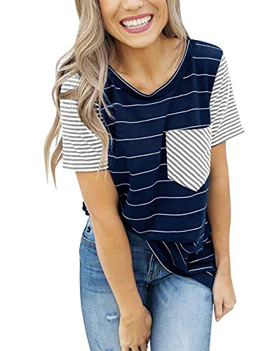 - Womens Plus Size Striped Crewneck T Shirts Summer Short Sleeve Contrast Color Loose Casual Tee Tops Blue