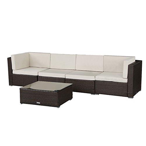 Cheap U-MAX 5 Pieces Patio PE Rattan Wicker Sofa Sectional Furniture (BR-5 Pieces)