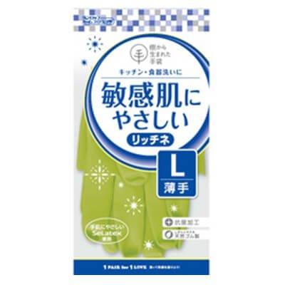 【ケース販売】 ダンロップ 敏感肌にやさしい リッチネ 薄手 L グリーン (10双×24袋) B07B2TC3DR