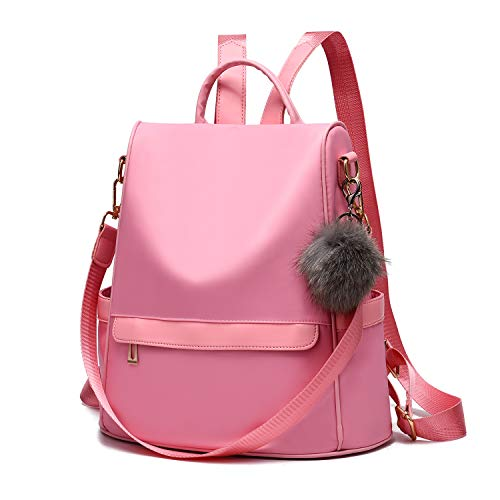 Women Backpack Purse Nylon Anti-theft Fashion Casual Lightweight Travel School Shoulder Bag (Pink)