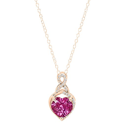 Dazzlingrock Collection 10K 8 MM Heart Lab Created Pink Sapphire & Round White Diamond Ladies Heart Pendant, Rose Gold