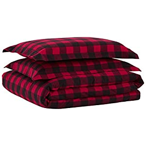 Stone & Beam Rustic Buffalo Check Soft and Breathable Flannel Yarn-Dyed Duvet Set, King, Red and Black