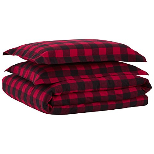 Stone & Beam Rustic Buffalo Check Flannel Yarn-Dyed Duvet Set, Full/Queen, Red and Black