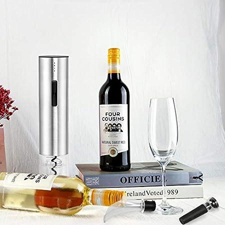 Ballery Sacacorchos Electrico, Profesional Automatico Abrelatas de Vino, 5 en 1 Abridor de Botellas Portátil, Cortador de Papel, Vertedor, Tapón de Vino Silicona de Vacío y Cable de USB