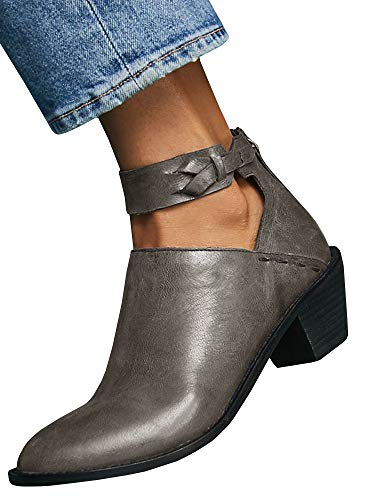 Seraih Cutout Ankle Strap Booties Chunky Block Stacked Mid Heel Zip Up Pump Boots Gray