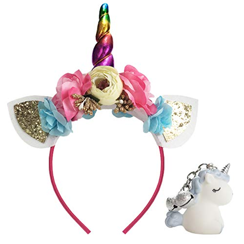 (Unicorn Headband Shiny Horn Ears Flower Headpiece for Girls Adults Party Decoration Cosplay Costume Halloween Christmas Birthday Outfit Colorful)